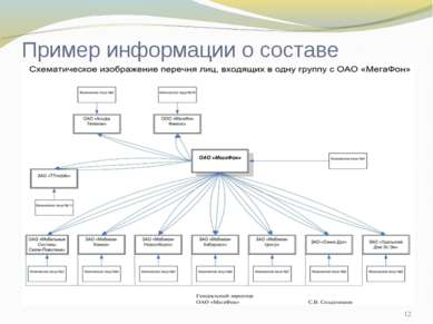 * Пример информации о составе группы: на примере ОАО Мегафон