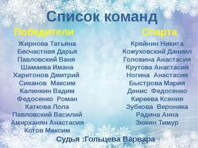 Список команд Победители Спарта Жирнова Татьяна Бесчастная Дарья Павловский В...