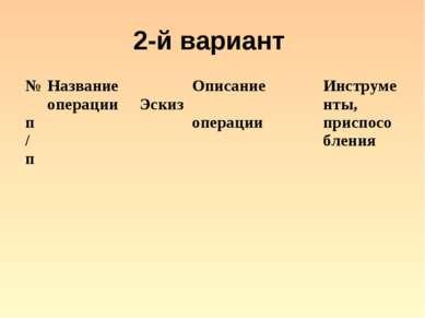 2-й вариант № п/п Название операции Эскиз Описание операции Инструменты, прис...