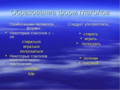 Образование форм глаголов Ошибочными являются формы: Некоторых глаголов с –ся...