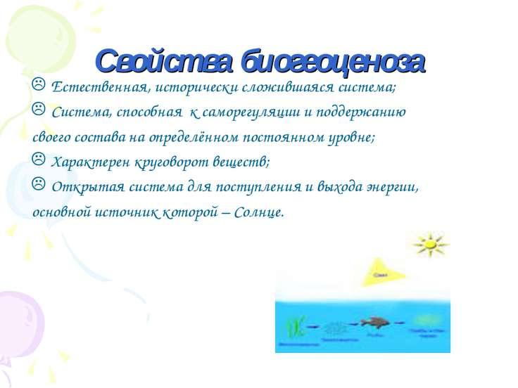 Свойства биогеоценоза Естественная, исторически сложившаяся система; Система,...