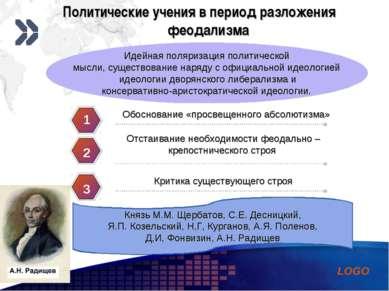 Политические учения в период разложения феодализма Идейная поляризация полити...