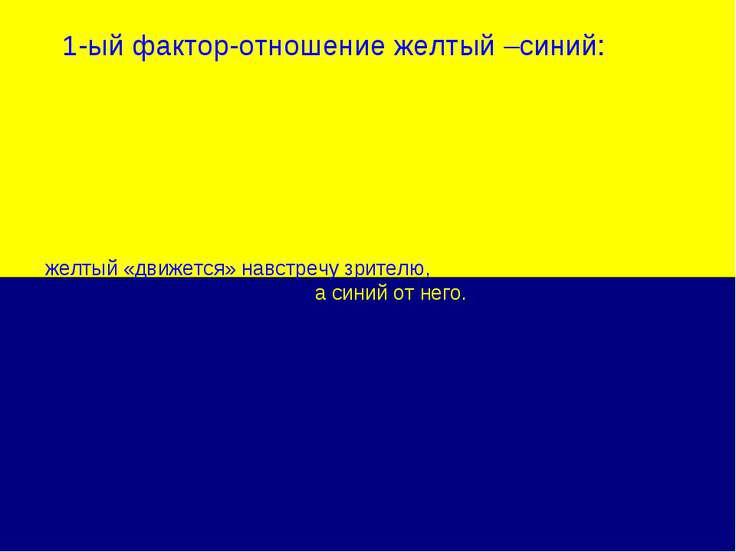 1-ый фактор-отношение желтый –синий: желтый «движется» навстречу зрителю, а с...