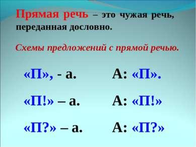 Прямая речь – это чужая речь, переданная дословно. Схемы предложений с прямой...