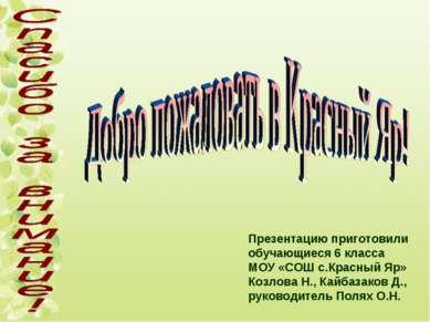 Презентацию приготовили обучающиеся 6 класса МОУ «СОШ с.Красный Яр» Козлова Н...