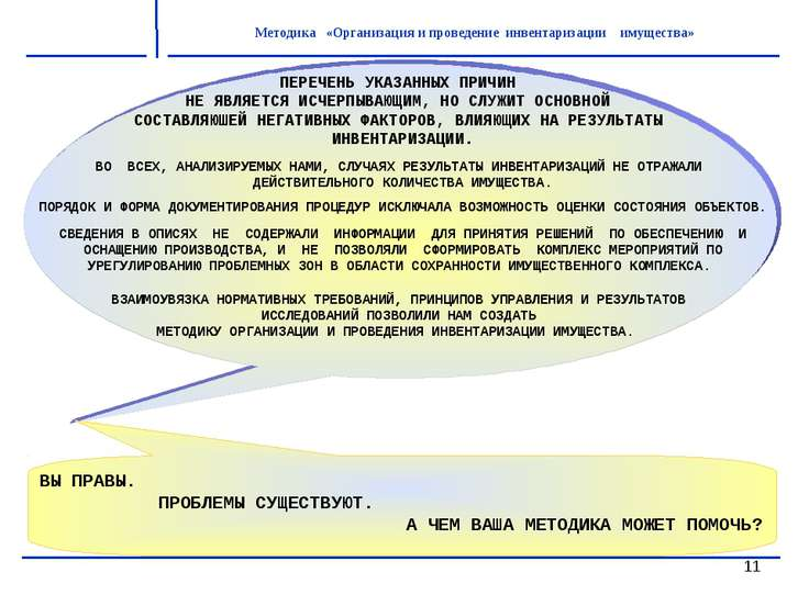* Методика «Организация и проведение инвентаризации имущества» ПЕРЕЧЕНЬ УКАЗА...