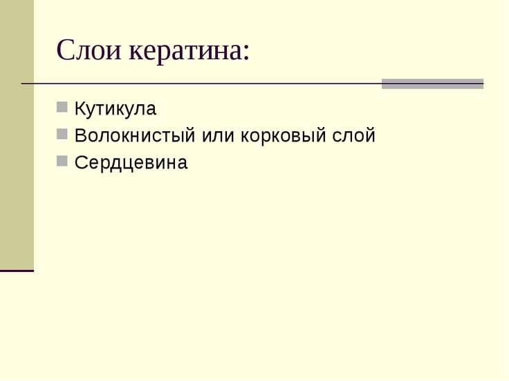 Кутикула Волокнистый или корковый слой Сердцевина Слои кератина: