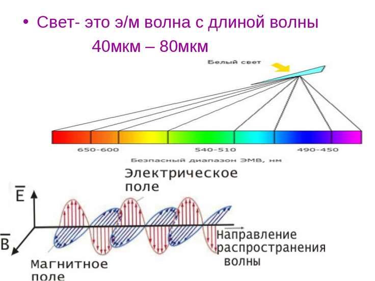 Свет- это э/м волна с длиной волны 40мкм – 80мкм