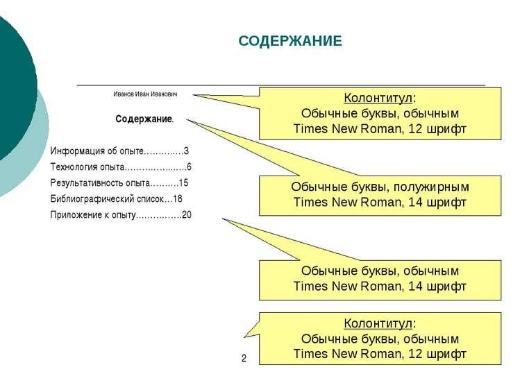 СОДЕРЖАНИЕ Колонтитул: Обычные буквы, обычным Times New Roman, 12 шрифт Обычн...