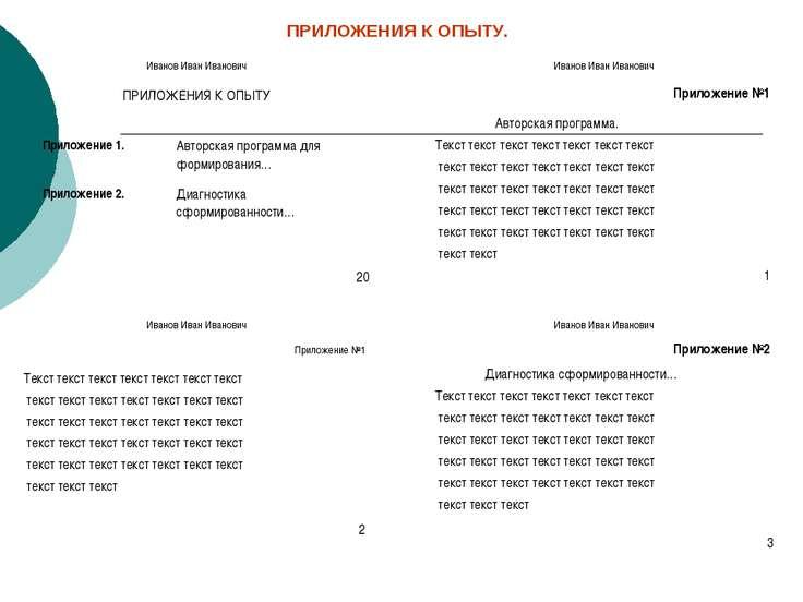 ПРИЛОЖЕНИЯ К ОПЫТУ.