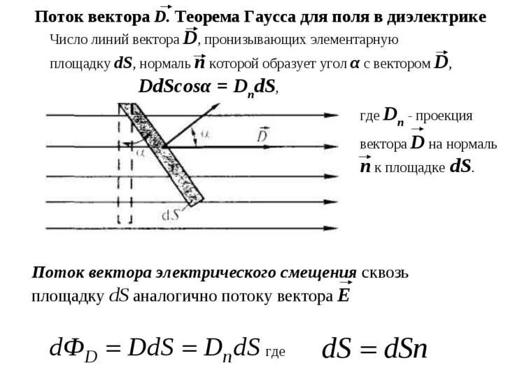 Число линий вектора D, пронизывающих элементарную площадку dS, нормаль п кото...