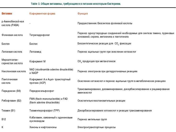 Table 3. Общие витамины, требующиеся в питании некоторым бактериям.