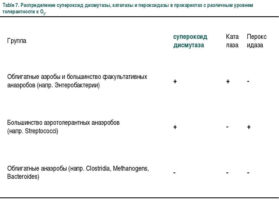 Table 7. Распределение супероксид дисмутазы, каталазы и пероксидазы в прокари...
