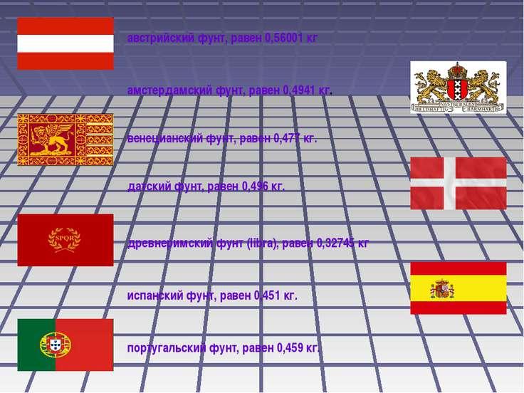 австрийский фунт, равен 0,56001 кг амстердамский фунт, равен 0,4941 кг. венец...