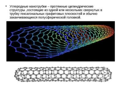 Углеродные нанотрубки – протяжные цилиндрические структуры ,состоящие из одно...