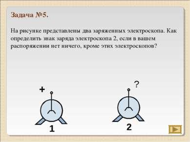 Задача №5. На рисунке представлены два заряженных электроскопа. Как определит...