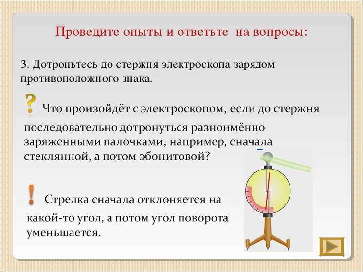 Проведите опыты и ответьте на вопросы: 3. Дотроньтесь до стержня электроскопа...