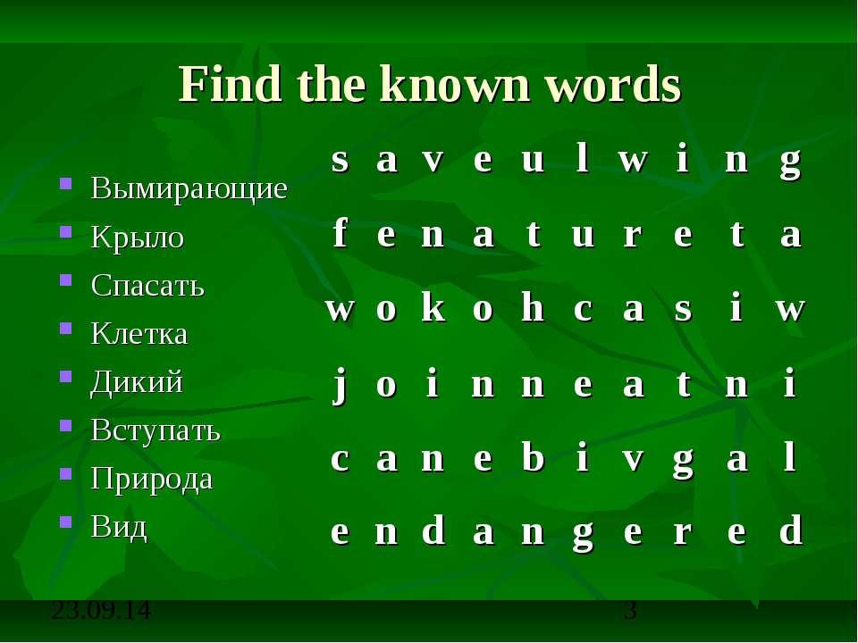 Find the known words Вымирающие Крыло Спасать Клетка Дикий Вступать Природа Вид