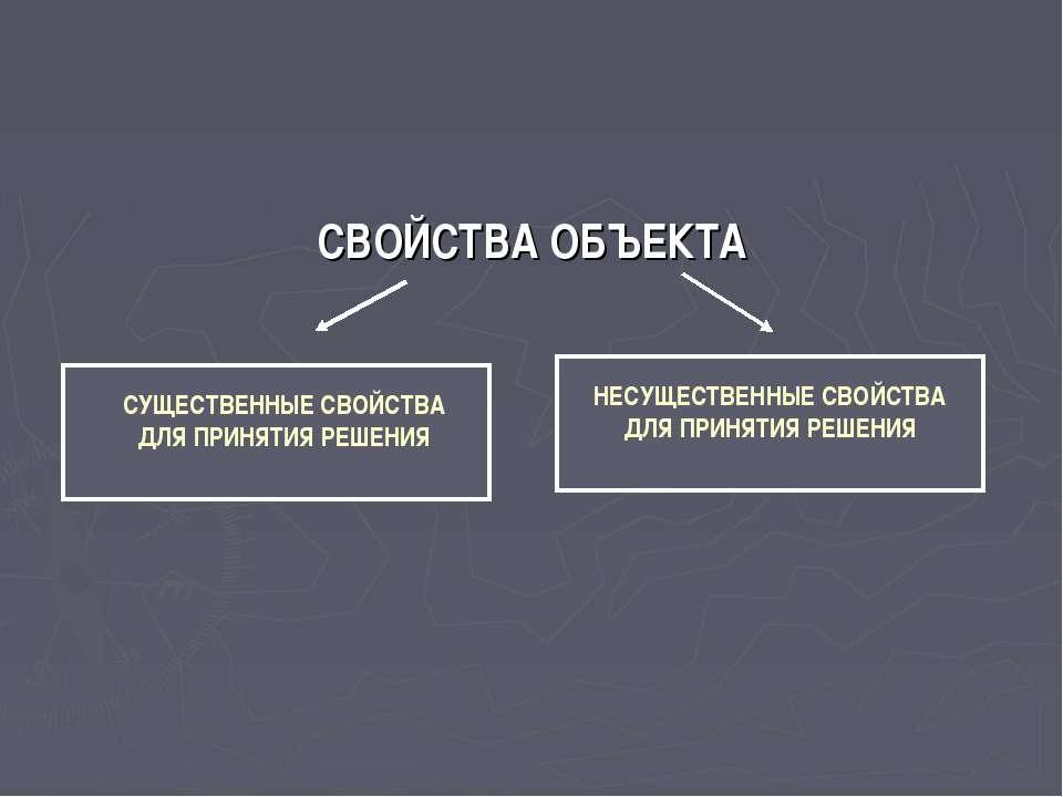 СВОЙСТВА ОБЪЕКТА СУЩЕСТВЕННЫЕ СВОЙСТВА ДЛЯ ПРИНЯТИЯ РЕШЕНИЯ НЕСУЩЕСТВЕННЫЕ СВ...