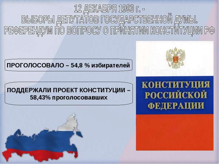 ПРОГОЛОСОВАЛО – 54,8 % избирателей ПОДДЕРЖАЛИ ПРОЕКТ КОНСТИТУЦИИ – 58,43% про...