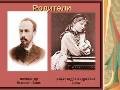 Родители Александр Львович Блок Александра Андреевна Блок
