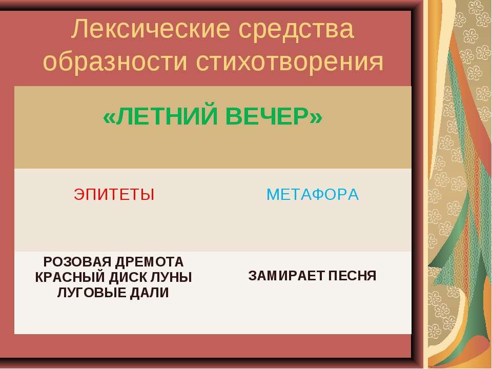 Лексические средства образности стихотворения «ЛЕТНИЙ ВЕЧЕР» ЭПИТЕТЫ МЕТАФОРА...