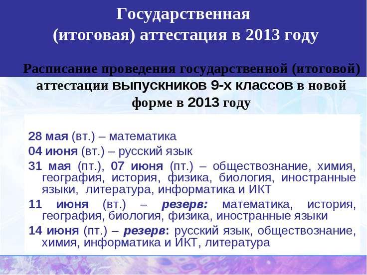 Государственная (итоговая) аттестация в 2013 году Расписание проведения госуд...