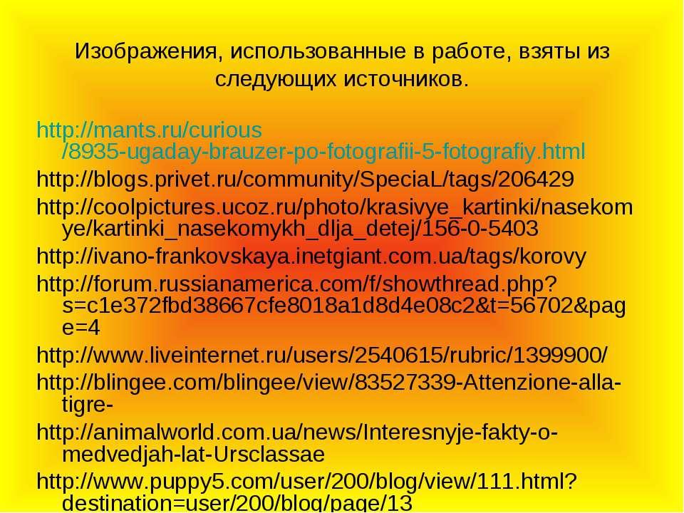 Изображения, использованные в работе, взяты из следующих источников. http://m...