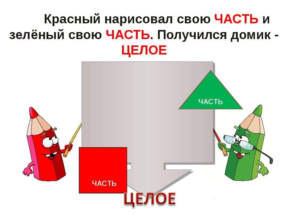 Красный нарисовал свою ЧАСТЬ и зелёный свою ЧАСТЬ. Получился домик - ЦЕЛОЕ Кр...