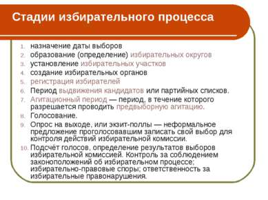 Стадии избирательного процесса назначение даты выборов образование (определен...
