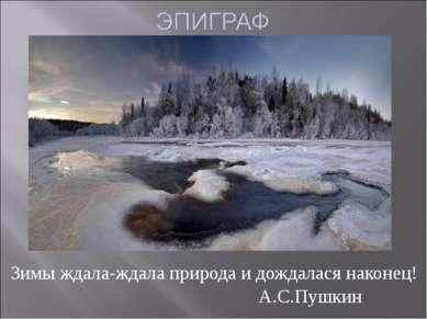 Зимы ждала-ждала природа и дождалася наконец! А.С.Пушкин