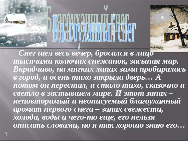 Снег шел весь вечер, бросался в лицо тысячами колючих снежинок, засыпая мир. ...