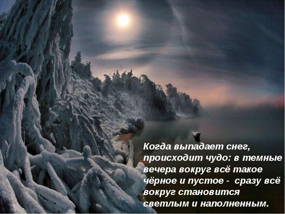 Когда выпадает снег, происходит чудо: в темные вечера вокруг всё такое чёрное...