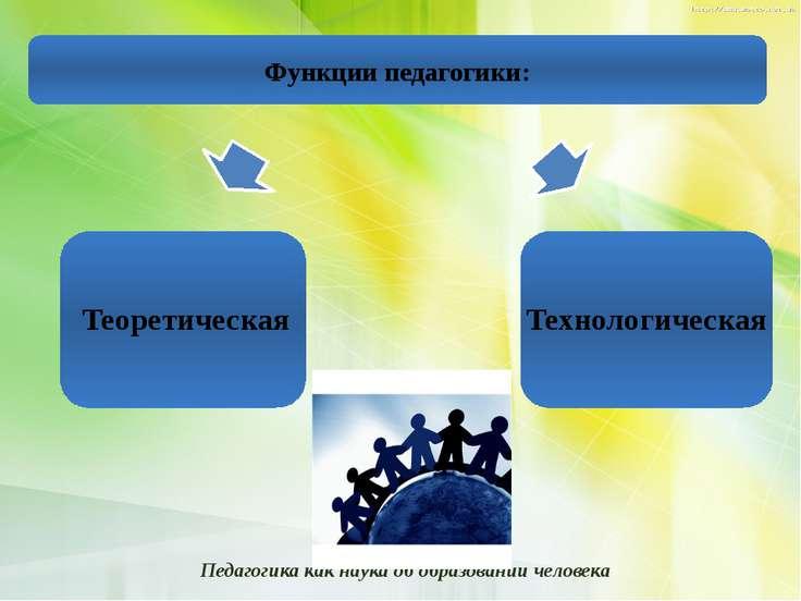 Функции педагогики: Теоретическая Технологическая Педагогика как наука об обр...