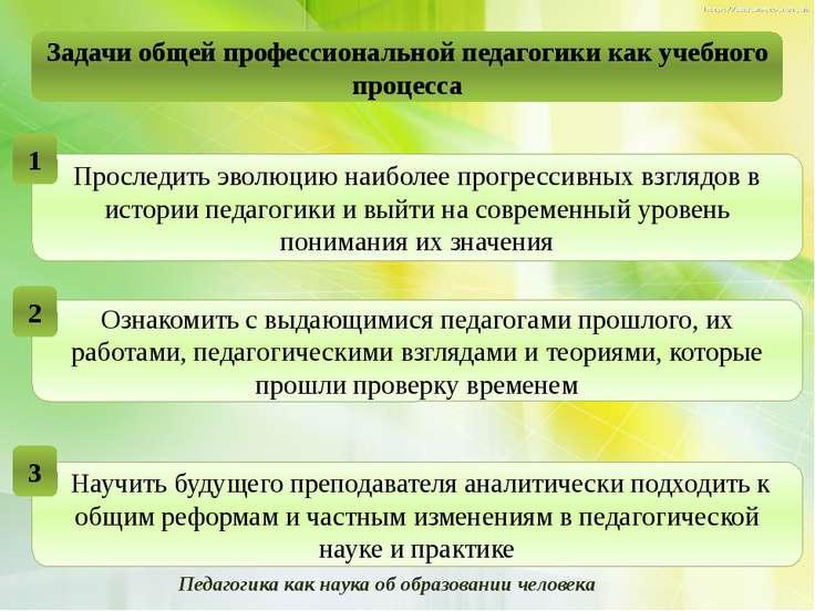 Задачи общей профессиональной педагогики как учебного процесса Педагогика как...