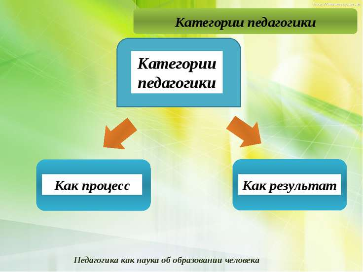 Категории педагогики Как процесс Как результат Педагогика как наука об образо...