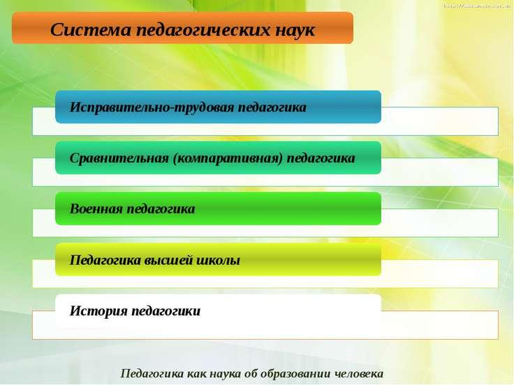 Система педагогических наук Педагогика как наука об образовании человека 8. з...