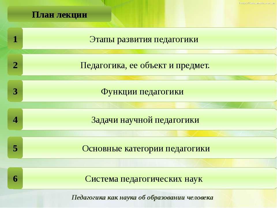 План лекции Педагогика, ее объект и предмет. Задачи научной педагогики Основн...