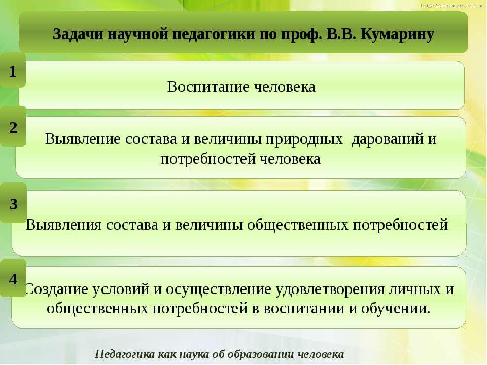 Задачи научной педагогики по проф.В.В. Кумарину Педагогика как наука об обра...