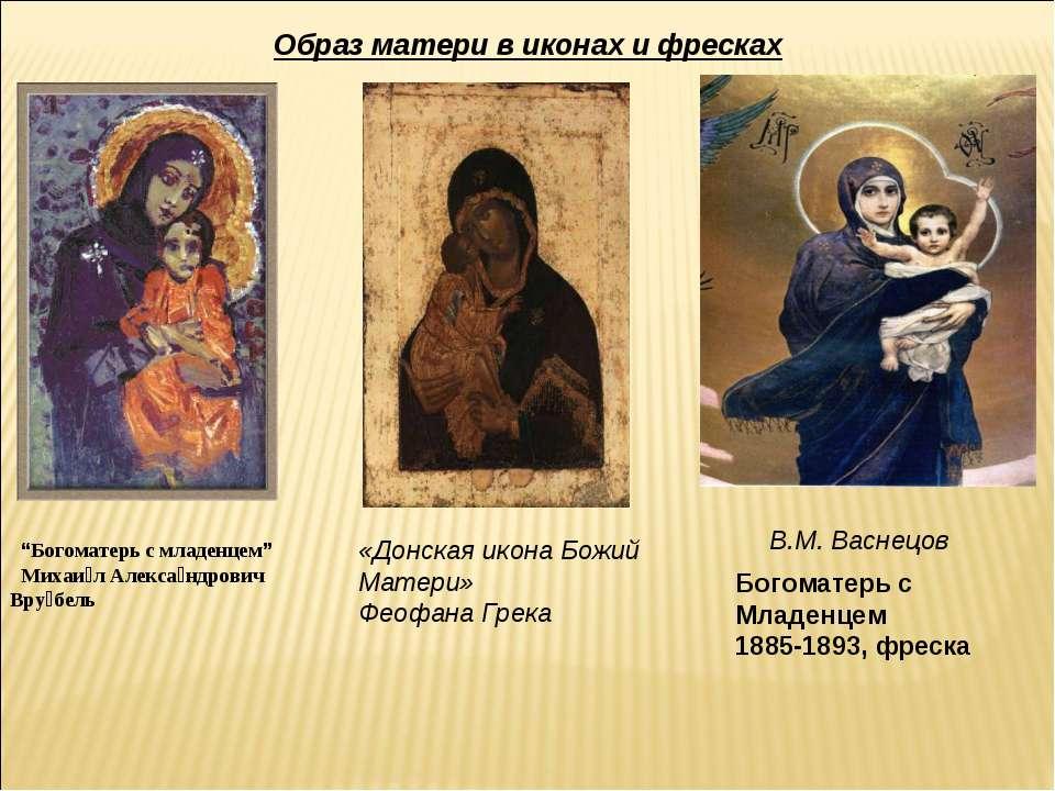 """Образ матери в иконах и фресках """"Богоматерь с младенцем"""" Михаи л Алекса ндров..."""