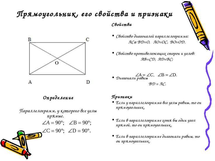 Прямоугольник, его свойства и признаки Определение Параллелограмм, у которого...