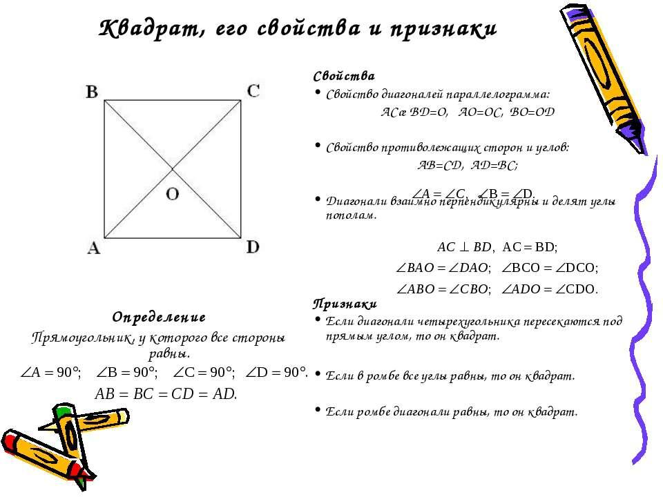 Квадрат, его свойства и признаки Определение Прямоугольник, у которого все ст...