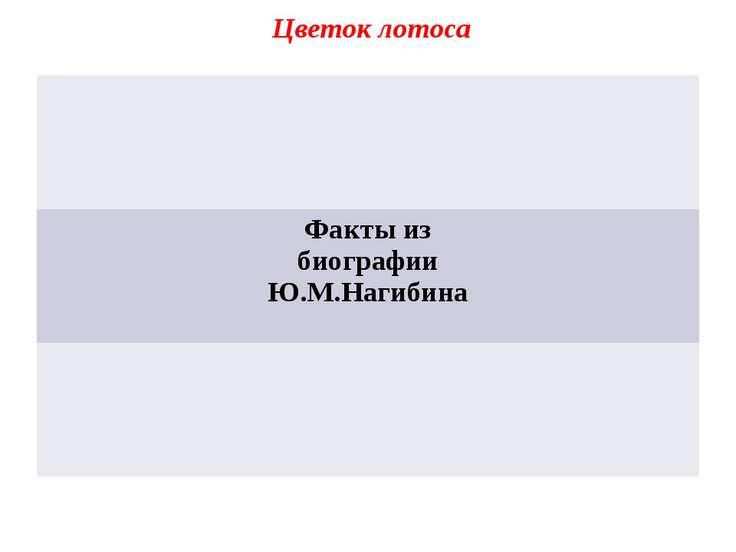 Цветок лотоса Факты из биографии Ю.М.Нагибина