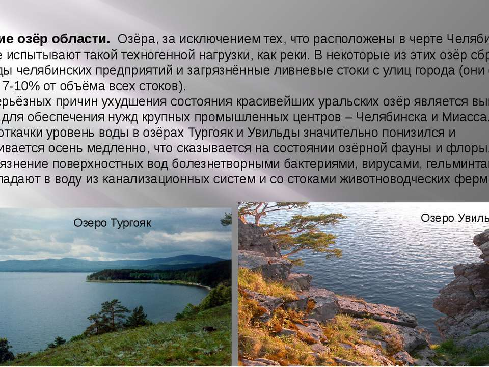 Загрязнение озёр области. Озёра, за исключением тех, что расположены в черте ...