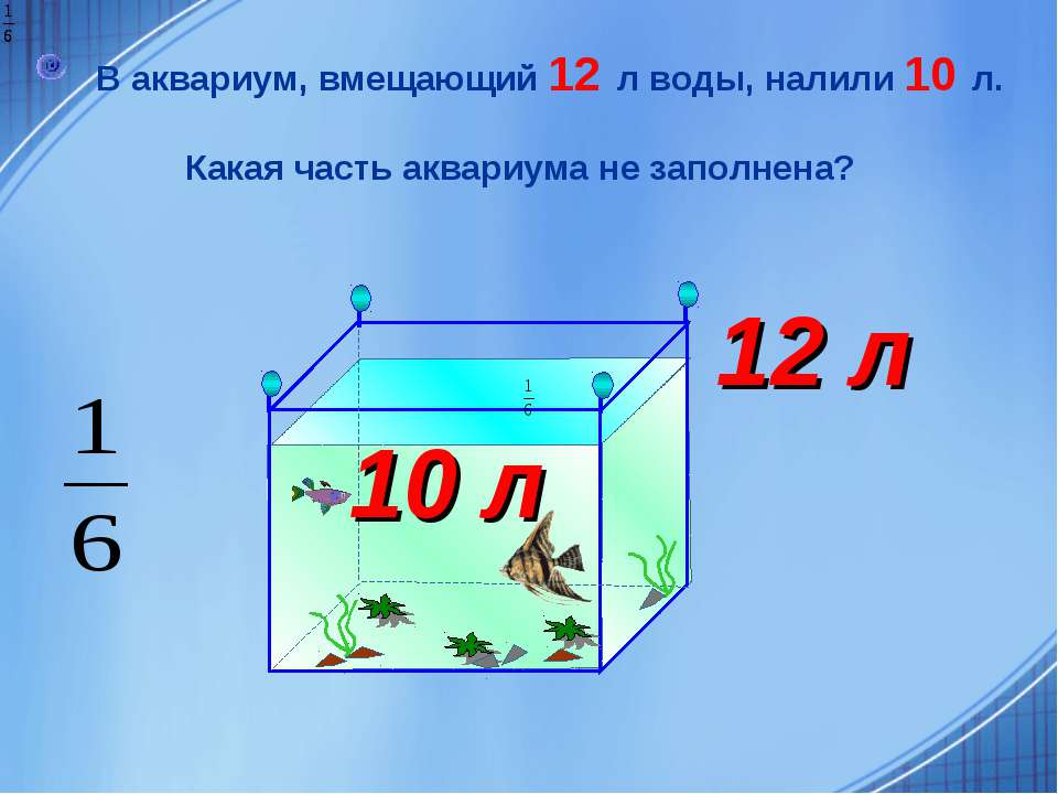 В аквариум, вмещающий 12 л воды, налили 10 л. Какая часть аквариума не заполн...