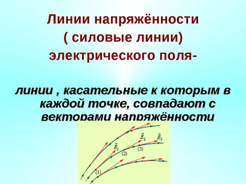 Линии напряжённости ( силовые линии) электрического поля- линии , касательные...
