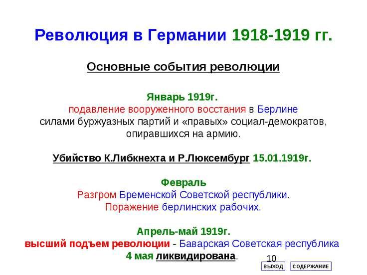 Революция в Германии 1918-1919 гг. Основные события революции ВЫХОД СОДЕРЖАНИ...