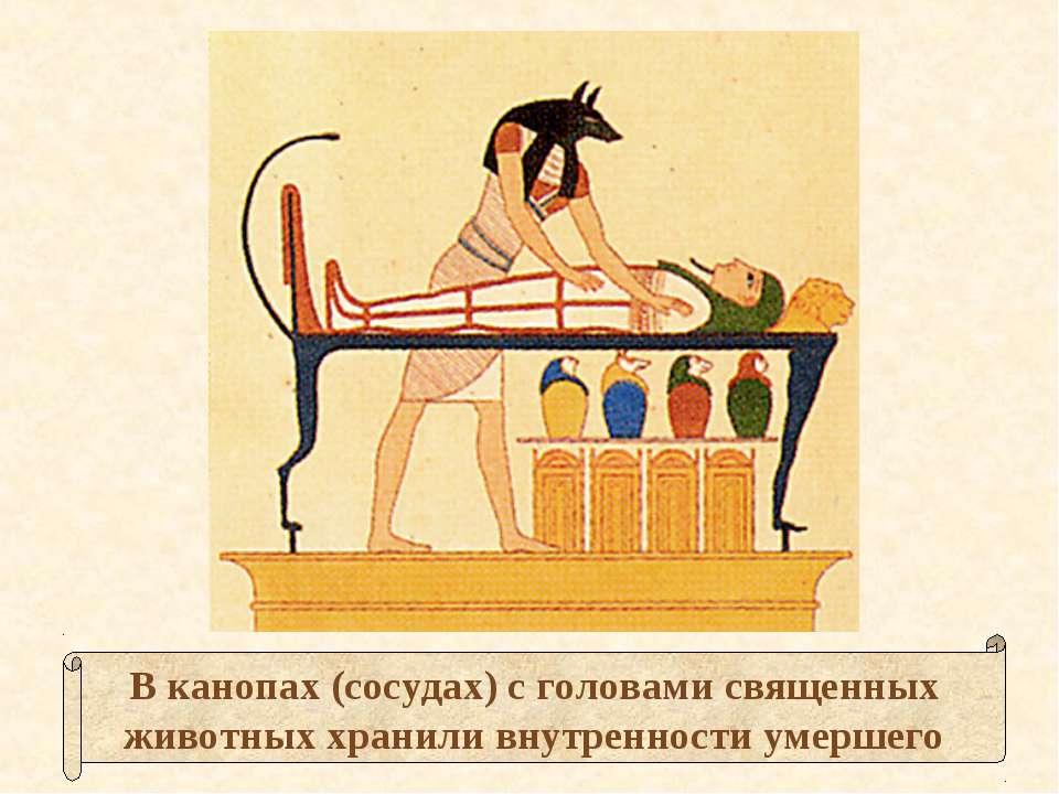 В канопах (сосудах) с головами священных животных хранили внутренности умершего