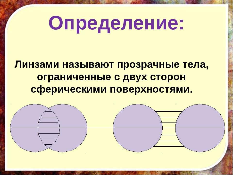 Определение: Линзами называют прозрачные тела, ограниченные с двух сторон сфе...