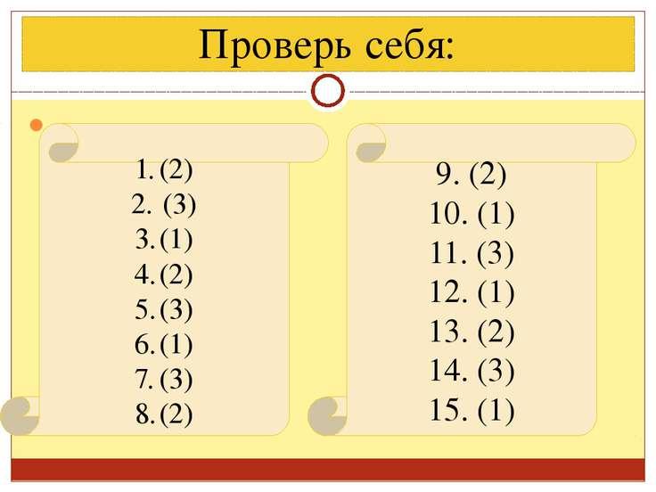 Проверь себя: (2) (3) (1) (2) (3) (1) (3) (2) 9. (2) 10. (1) 11. (3) 12. (1) ...